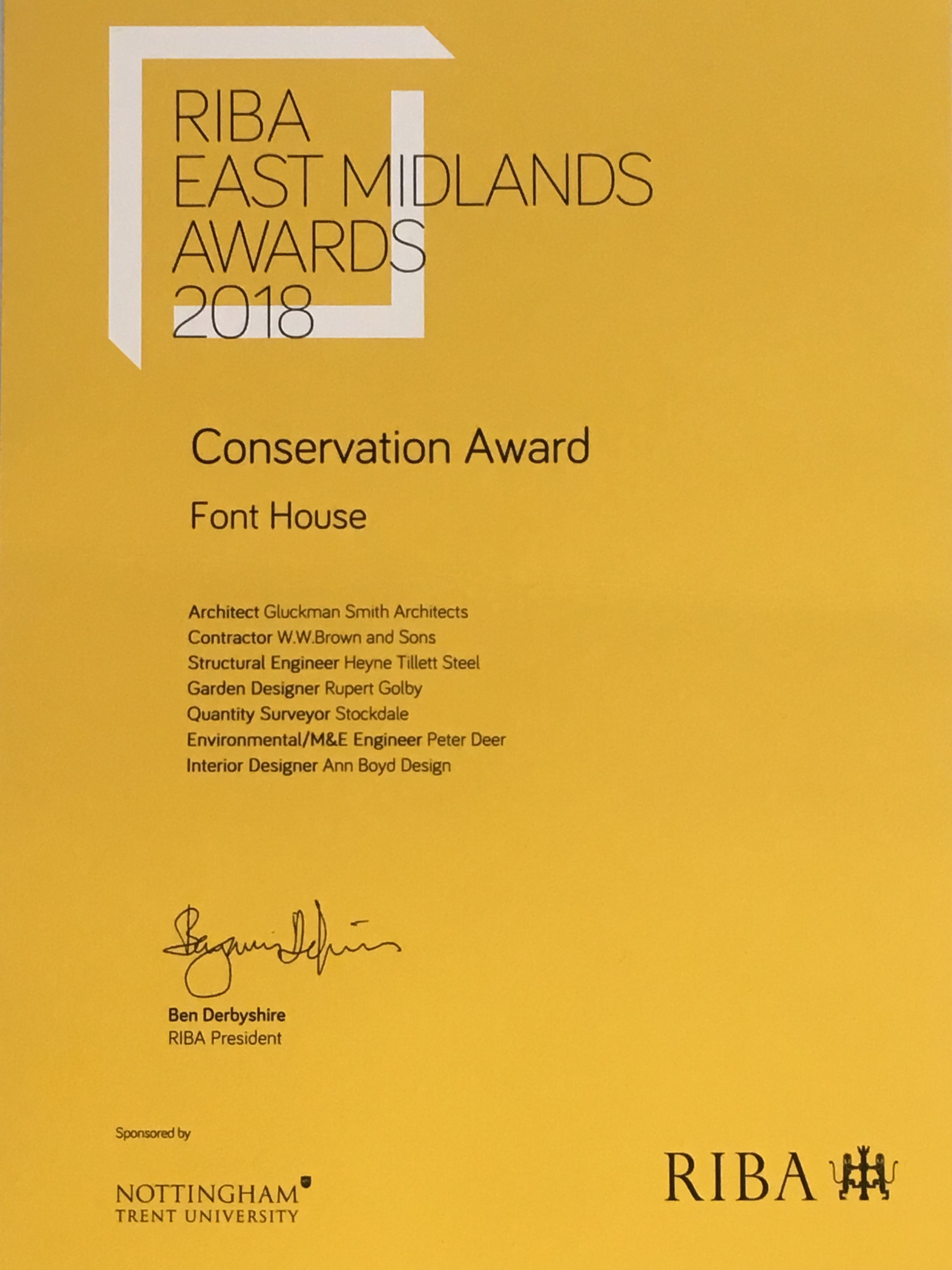 Font House by Gluckman Smith Architects won the RIBA East Midlands Conservation Award 2018